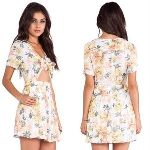 Free People tie front tropical dress size 0
